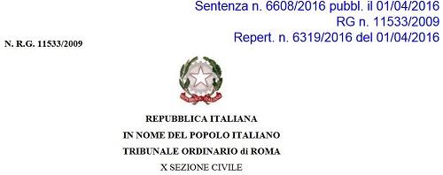 sentenza 6608 2016 tribunale di Roma