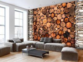 carta da parati effetto catasta di legno